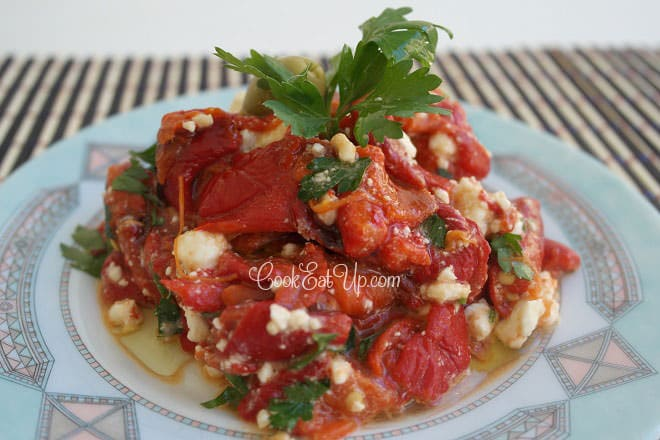 Sweet Red Peppers Salad with Feta Cheese