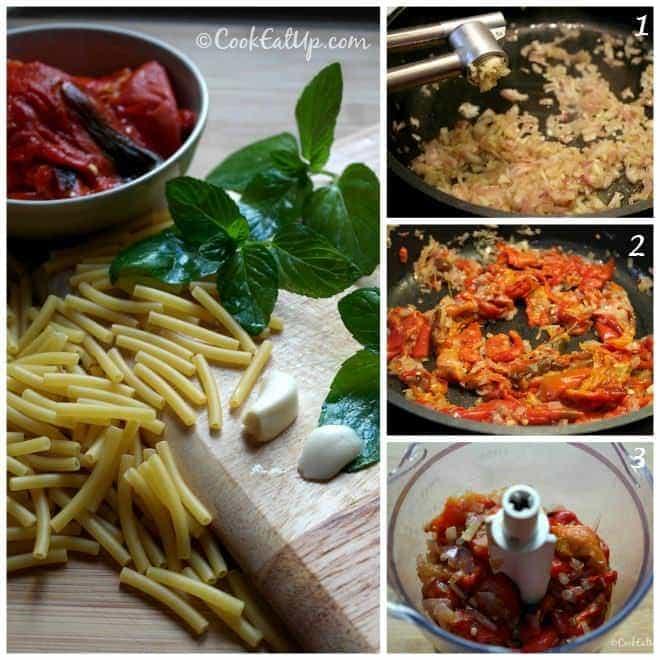 Ζυμαρικά με σάλτσα κόκκινης πιπεριάς και φέτας