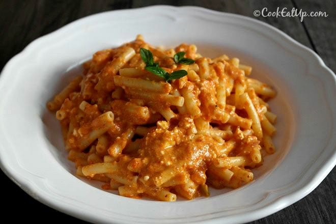 Roasted Red Pepper Sauce Pasta with Feta Cheese