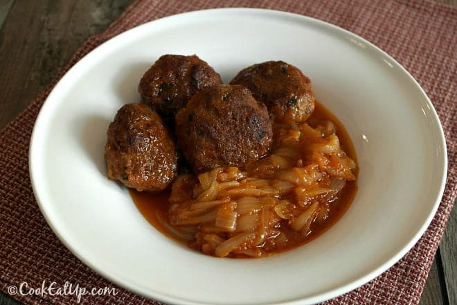 Meatballs with Onion Casserole, a Greek Old Traditional Recipe