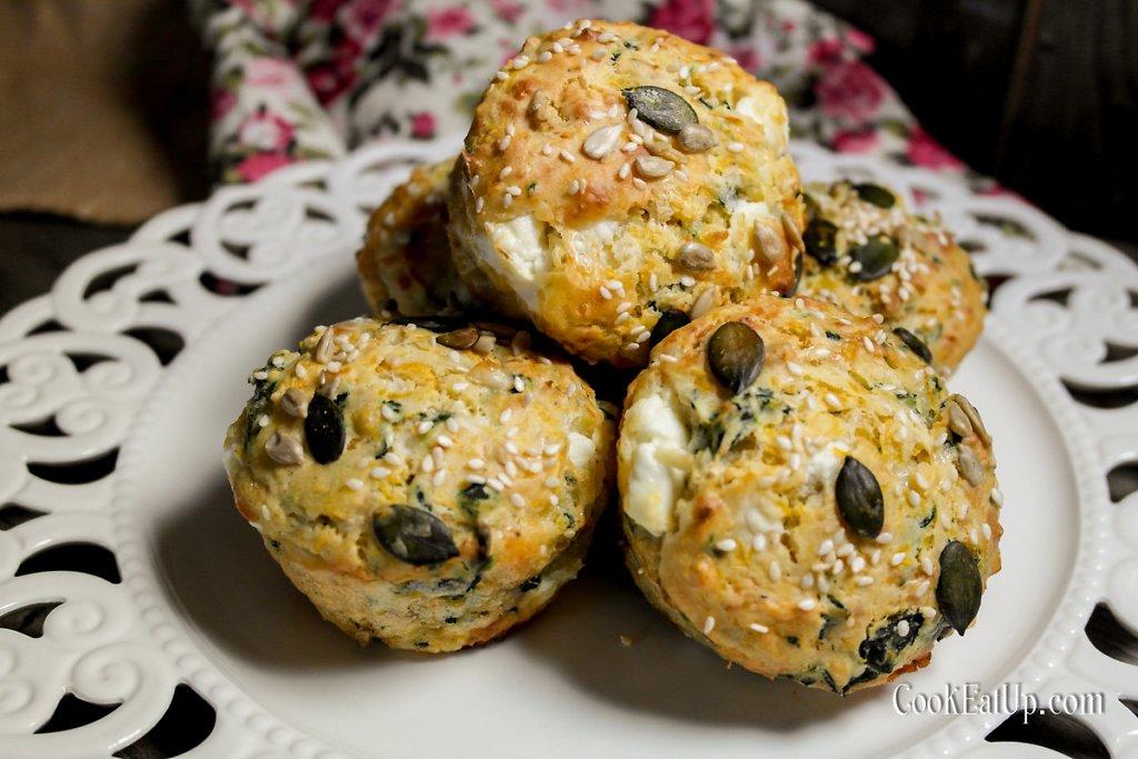 Αλμυρά κεκάκια, muffins, με κολοκύθα και σπανάκι