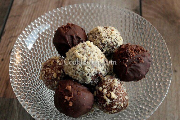 Chocolate truffles with tsoureki